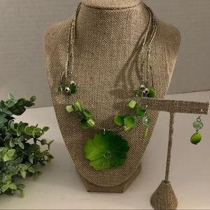 ERICA by Erica Lyons Green Floral Necklace Set